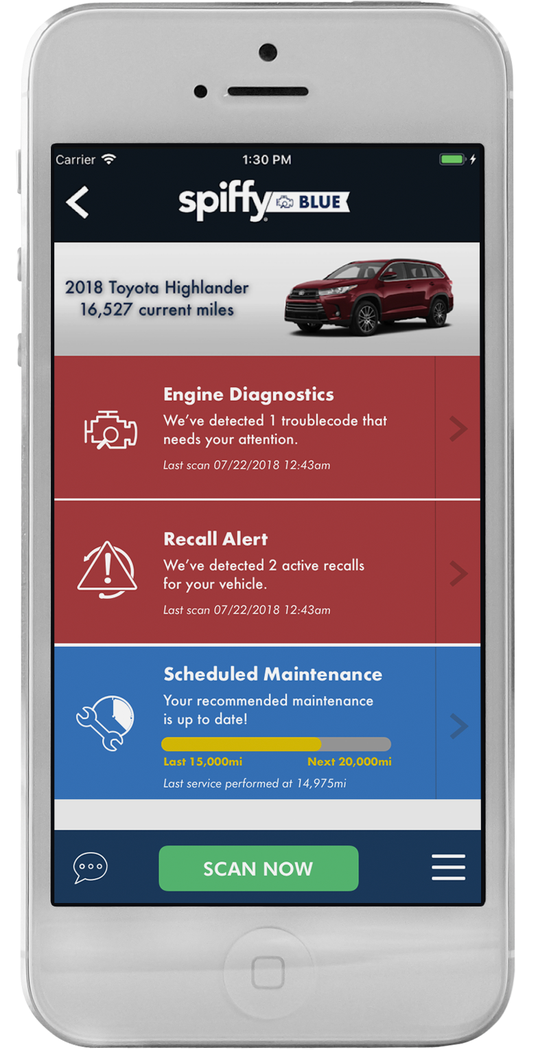 Spiffy on demand car care the updated spiffy app is all about blue everything you need to know to take control of your car care solutioingenieria Choice Image
