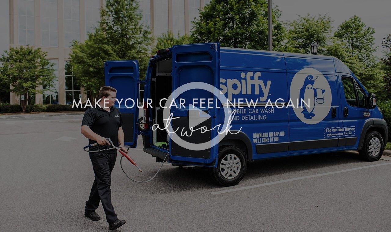 Mobile car wash at work